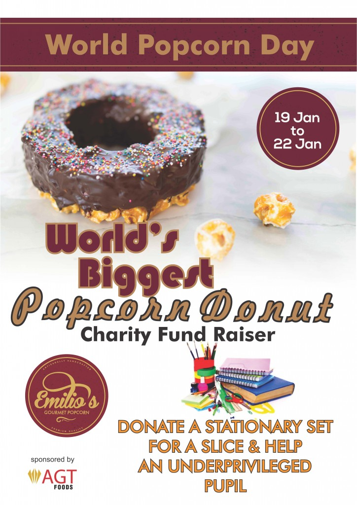 World popcorn donut poster