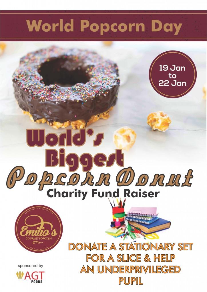 World popcorn donut poster